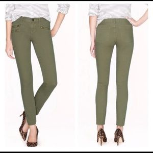 J.Crew Toothpick Olive Green Moto Skinny Jeans